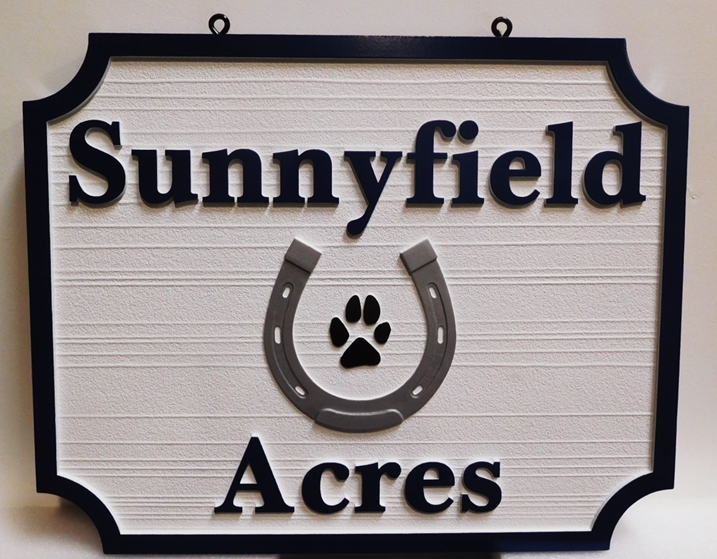 "P25155 - Carved and Sandblasted HDU Sign for  ""Sunnyfield Acres""  features a Horseshoe and a Dog's Paw Print as Artwork"