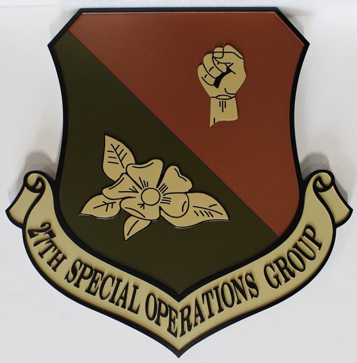 LP-3630 - Carved  Plaque of the Shield Crest of the 27th Special Operations Group, 2.5-D Artist-Painted