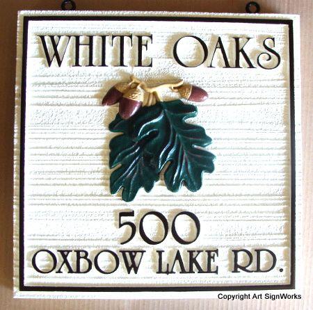 "I18334 -  House Address Sign ""White Oaks""  with Carved Oak Leaf Cluster and Acorns"