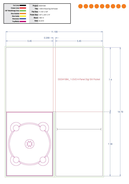 DDD41064 DVD 4 Panel Digi 1 Tray, Slit Pocket