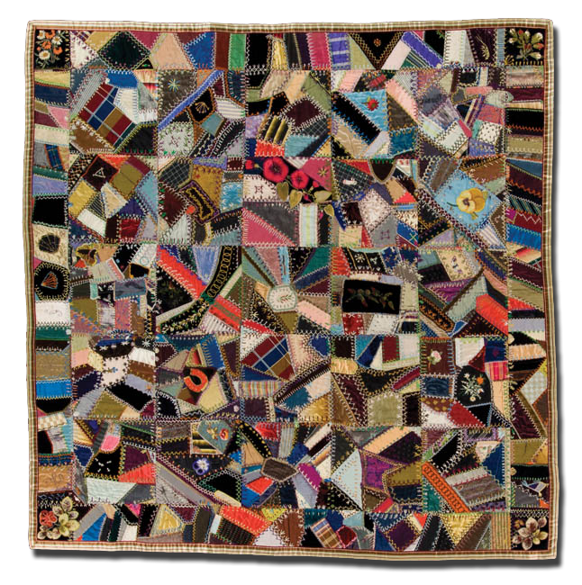 Crazy quilt, probably made by Dorothy Tompkins, made in Yonkers, New York, United States, circa 1880-1900, 65.25 x 65 in, IQSCM 1997.007.0230.1
