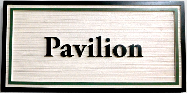 GA16518 - Carved, Wood Look HDU Sign with Double Border for Pavilion