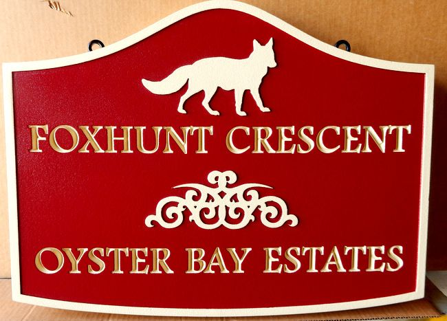 K20184- Carved HDU Sign,  for Foxhunt Crescent, Oyster Bay Estates, with Fox