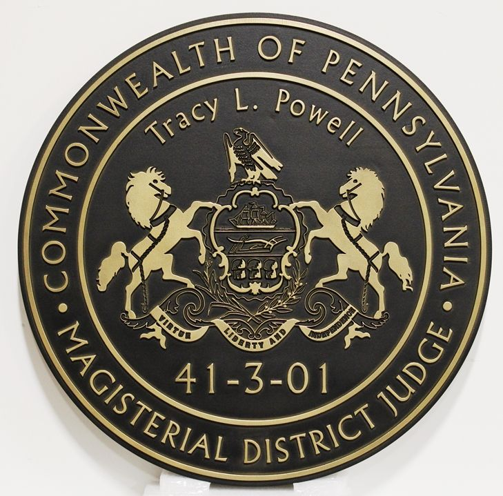 GP-1384 -Carved  Plaque of the Seal of a Magisterial District Judge, Commonwealth of Pennsylvania, 2.5-D Brass-Plated