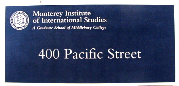 FA15543 - Carved High-Density-Urethane (HDU)Building Address Sign for the Monterey Institute of International Studies