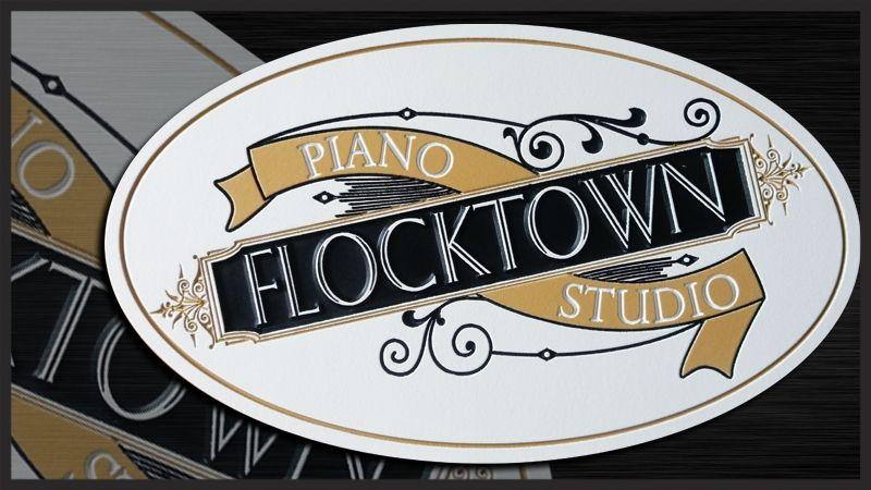 "SA28511 - Elegant Engraved High-Density-Urethane  Sign for the  ""Flocktown Piano Studio"""