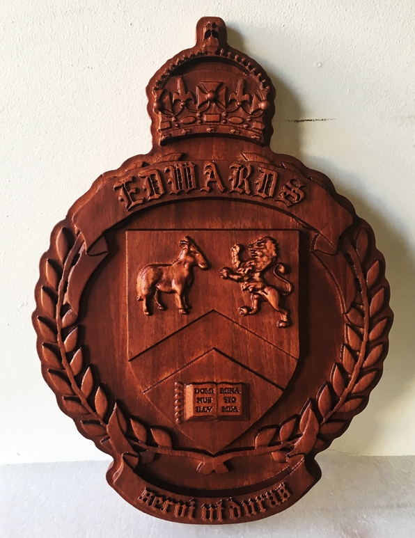 XP-1300 - Carved Wall Plaque of Coat-of-Arms / Crest, Mahogany Wood