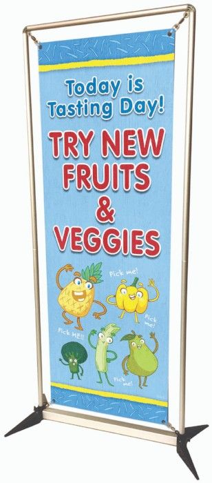 Try New Fruits & Veggies custom banner, food banner, banner stand, school banners, easy to setup banner stand