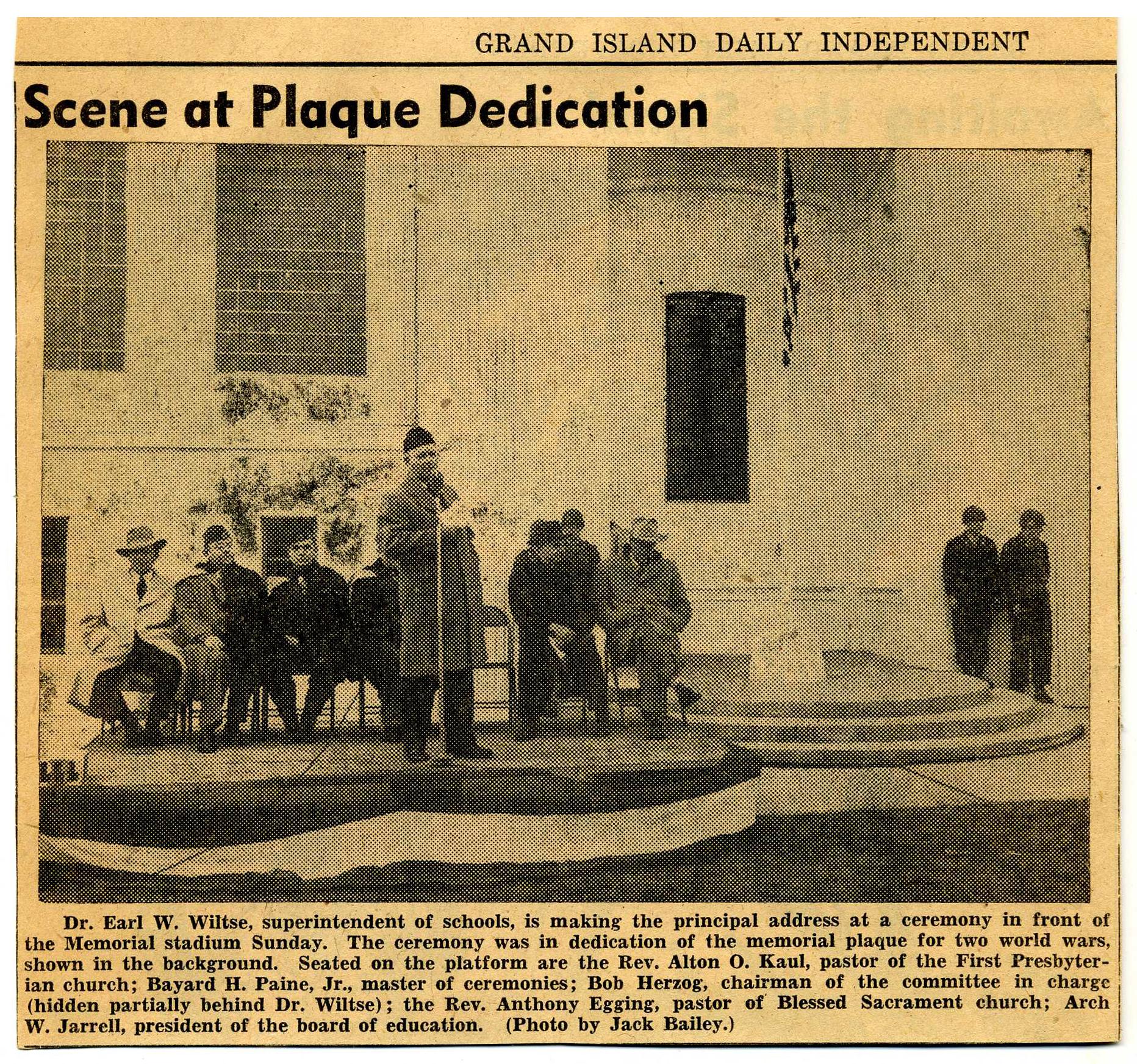 November 1950: Memorial Plaque is Unveiled