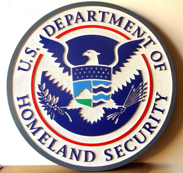 AP-4020 - Carved Plaque of the Seal of the Department of Homeland Security, 2.5-D Artist Painted