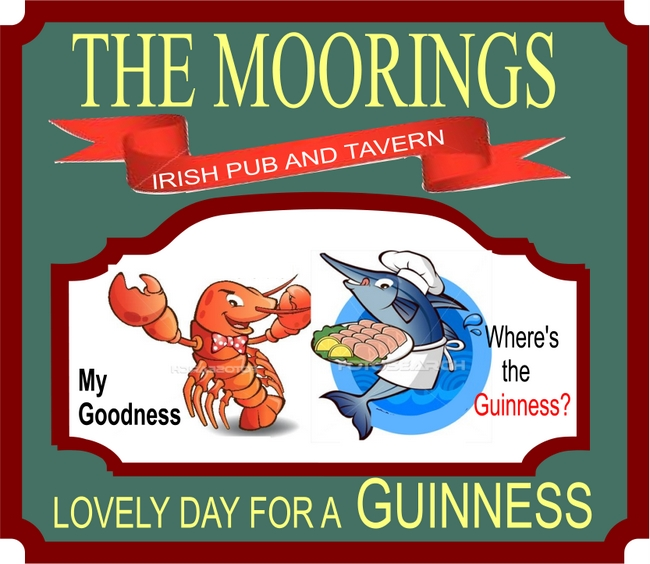 Y27645 - Irish Pub and Tavern Sign, with Lobster, Fish and Guiness