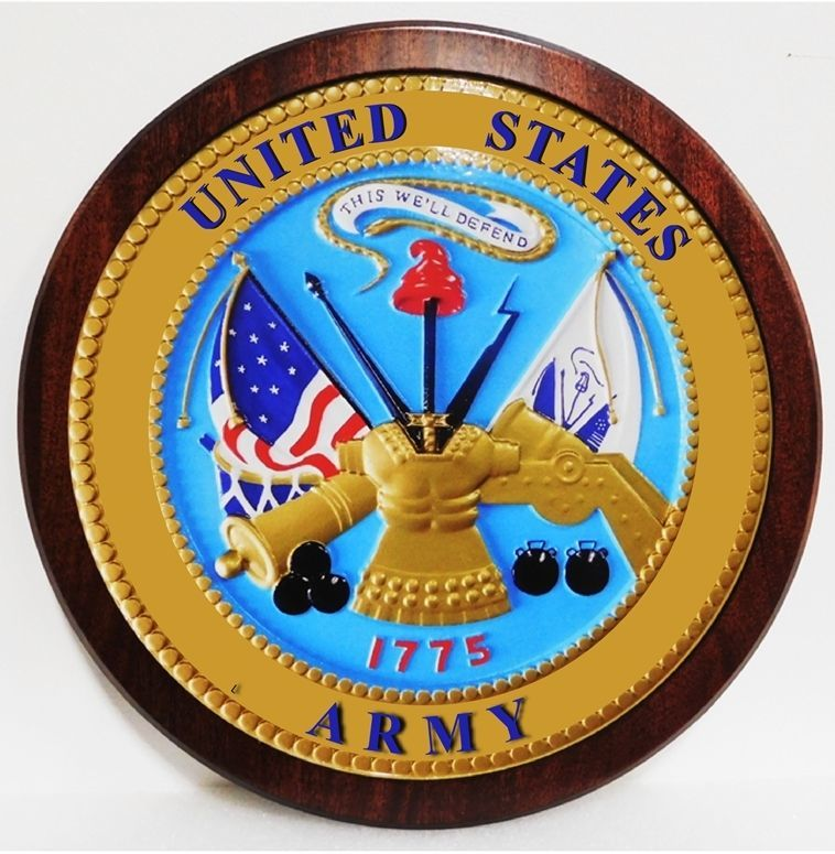 MP-1173 - Carved Plaque of the Great Seal of the US Army, 3D Mahogany