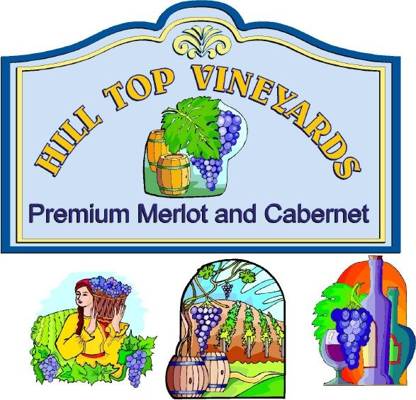 R27161 - Large Carved Wineyard Sign, with Full-Color Detailed Vineyard Scenes