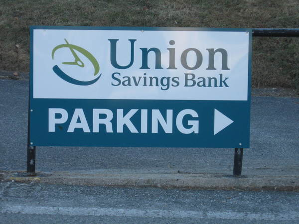 Directional Sign, Aluminum Panel on Existing Railing