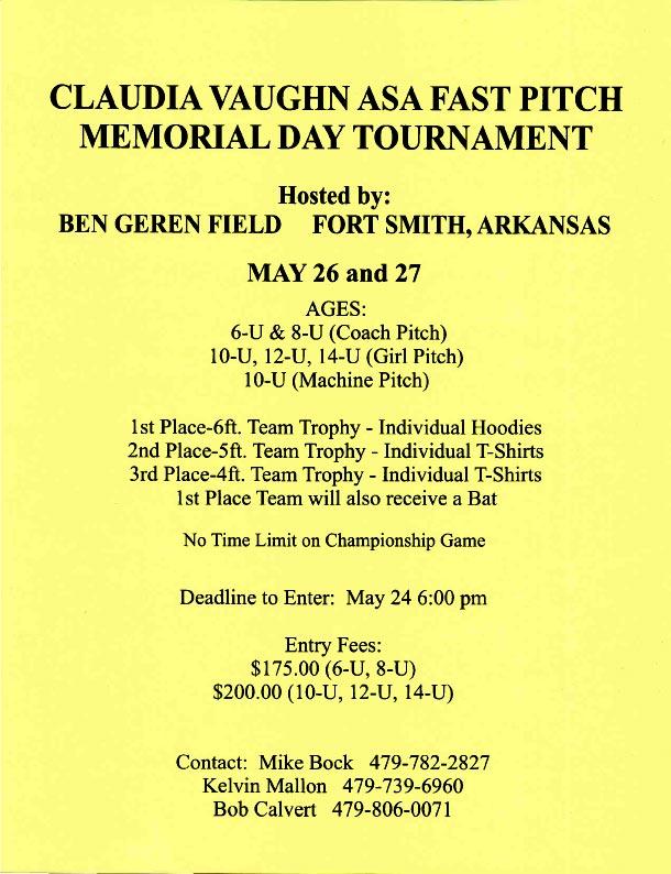 Memorial Day Tournament Info