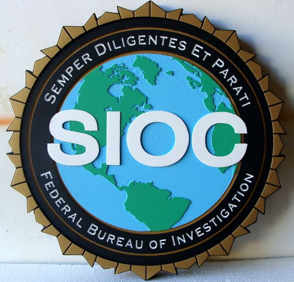 AP-2460 - Carved Plaque of the Seal of the SIOC Division of the FBI, Artist Painted