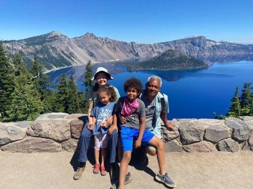 Jamila Larson and family at Crater Lake