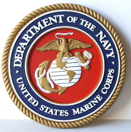 V31401 - US Marine Corps (USMC) Seal Carved Wood 3-D Wall  Plaque (unofficial colors)