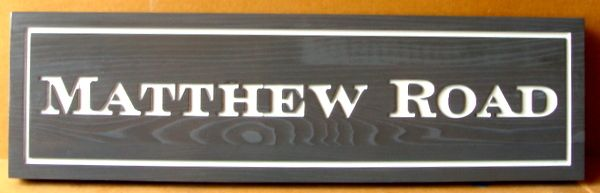M17059 - Carved Western Red Cedar Road Name Sign, Matthew Road