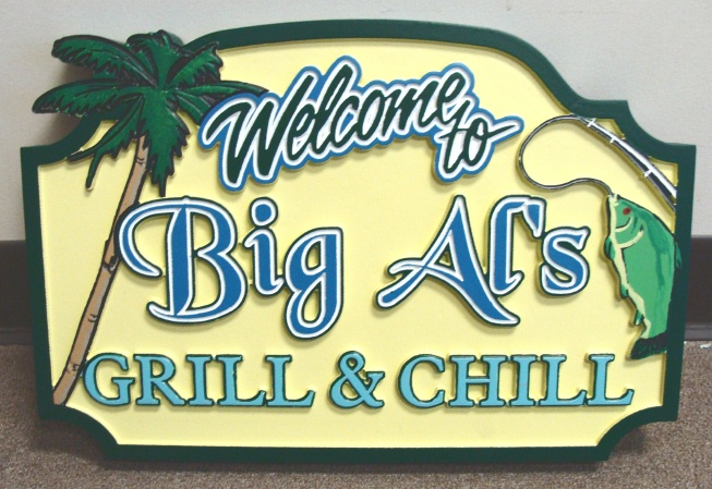"L21352 -Carved Palm Tree and Fish Sign for Restaurant ""Big Al's"""