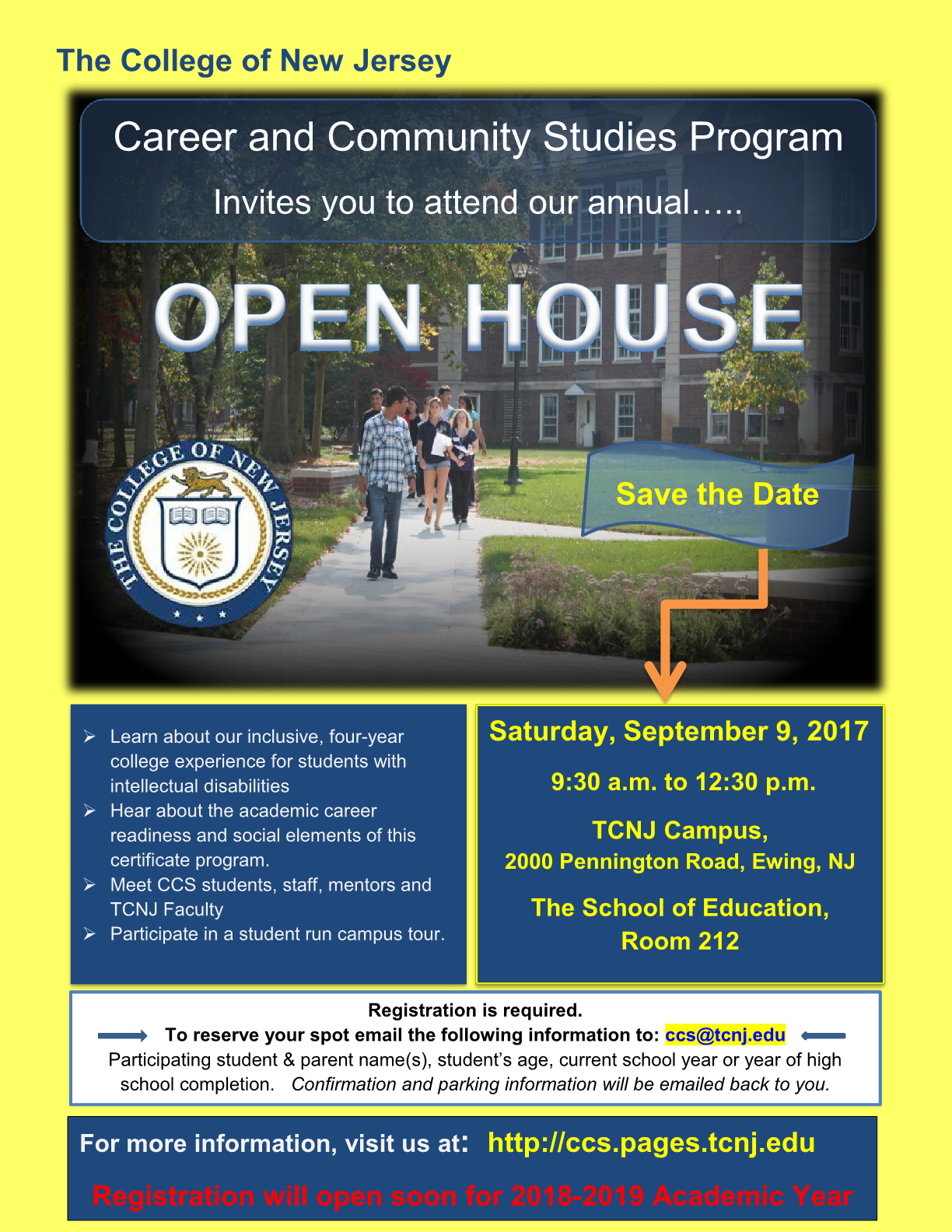 The College of New Jersey Career and Community Studies Program Open House