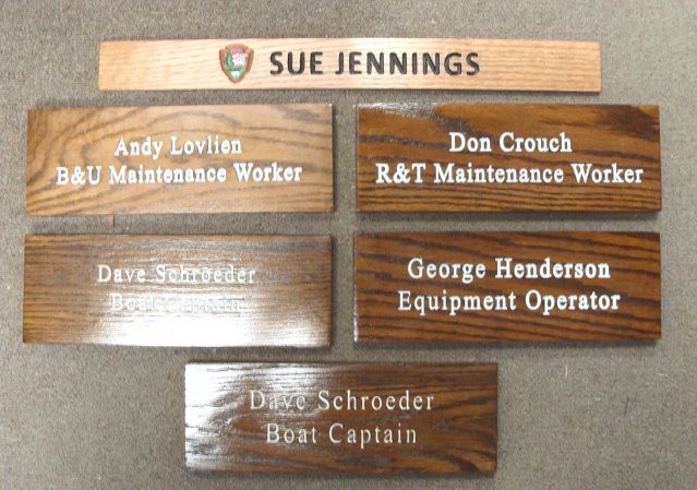 M3647 - Cedar Wood Signs for National Park Service (NPS)  Employee Names with Job Descriptions (Gallery 16)
