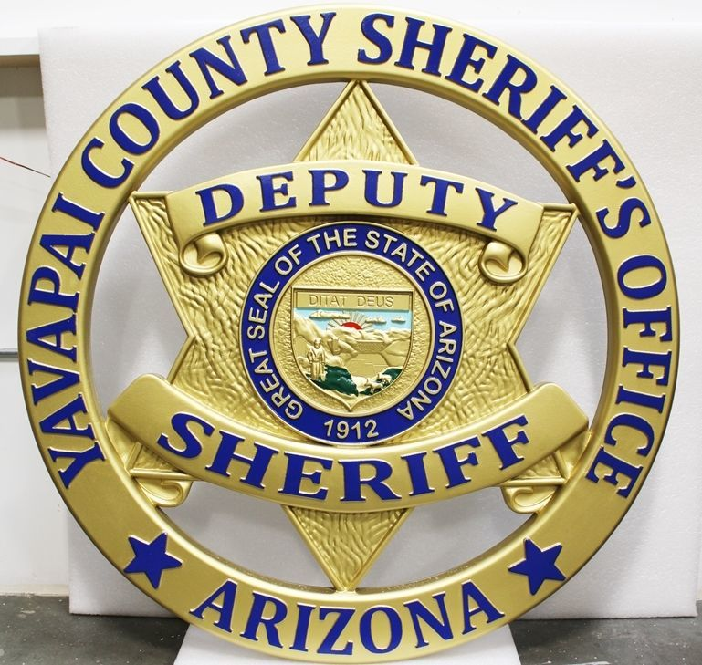 PP-1606 - Carved 3-D HDU Plaque of the Srat Badge of a Deputy Sheriff, Yavapai County, Arizona