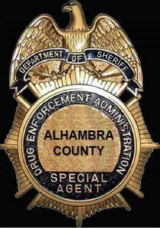 X33598 - Carved Wood Wall Plaque of Police Badge for Alhambra County DEA Special Agent