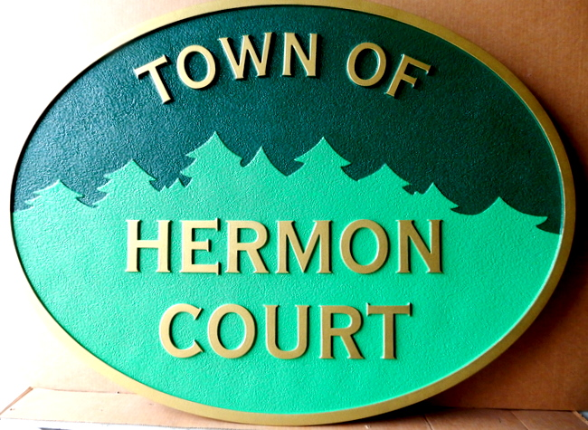 M1646 - Carved and Sandblasted Entrance Sign for the Town of Herman Court (Gallery 15)