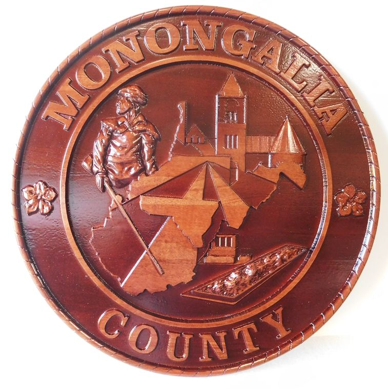 X33365 - 3-D Carved Cedar Wood Wall Plaque of the Seal of Mononogalia  County, West Virginia.