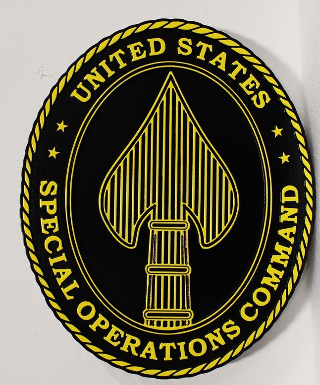 MP-1273 - Carved Plaque of the Seal of the  US Army's Special Operations Command, 2,5-D  Artist Painted