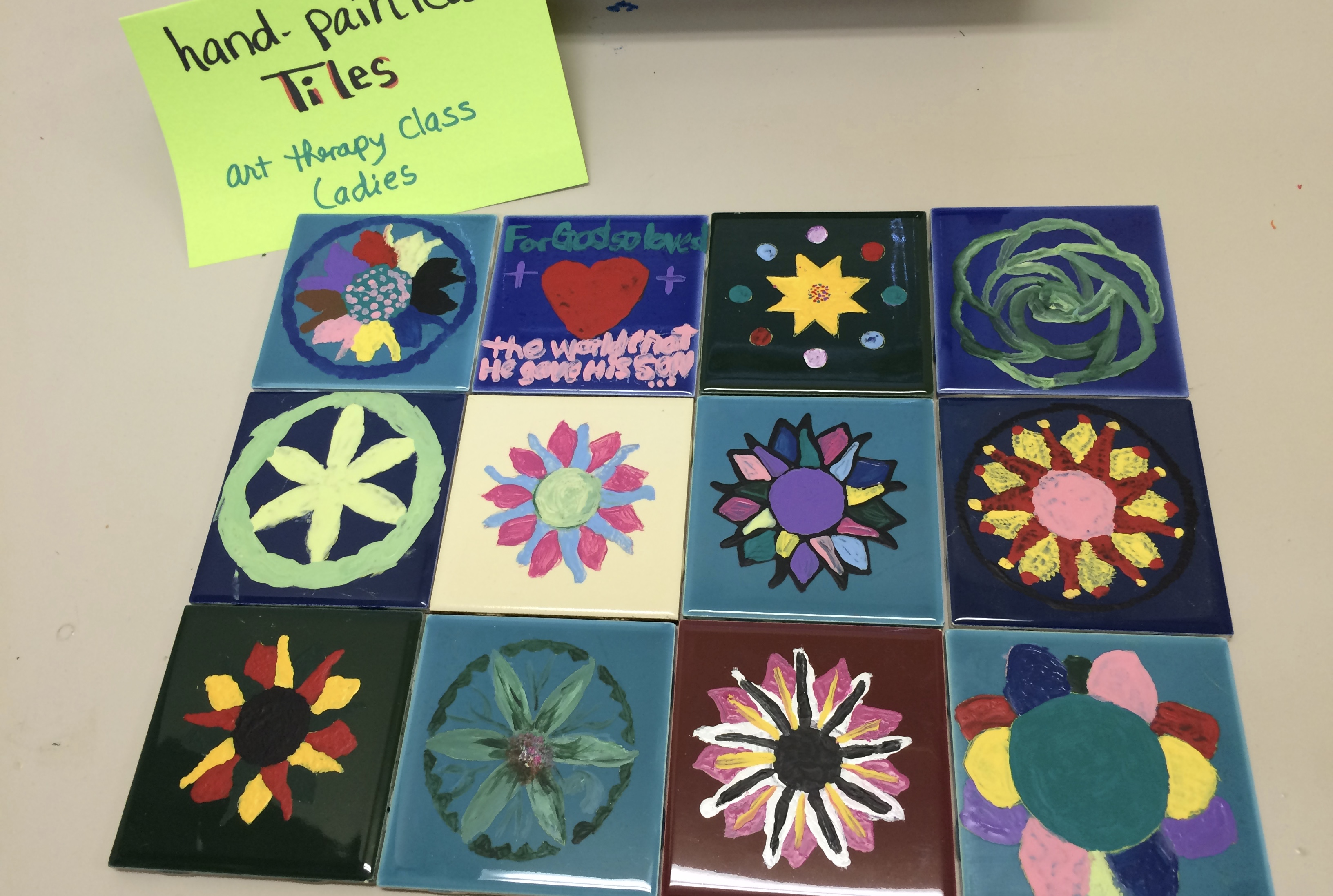 Hand painted tiles done in art class