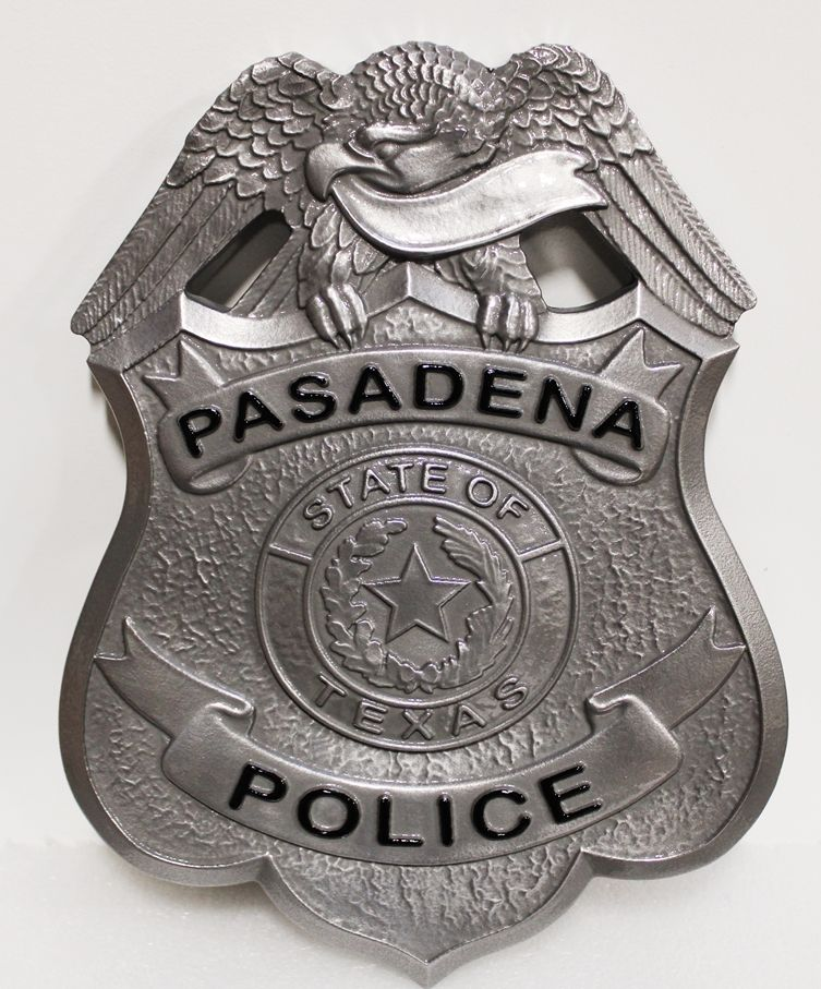 PP-1325 - Carved 3-D Bas-Relief Aluminum-Plated  HDU shield badge of the Police Department of Pasadena, Texas ,