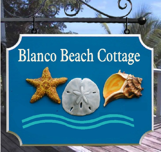 "L21504 - Carved 3-D ""Blanco Beach Cottage"" Sign with Carved Starfish, Sand Dollar and Conch Shell"