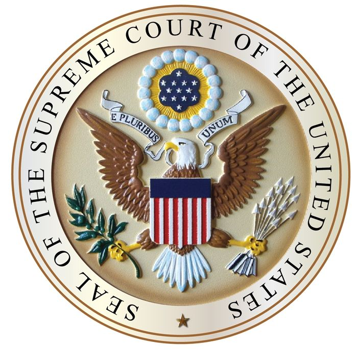 FP-1015 - Carved Plaque of the Great Seal  of the US Supreme Court, Artist Painted