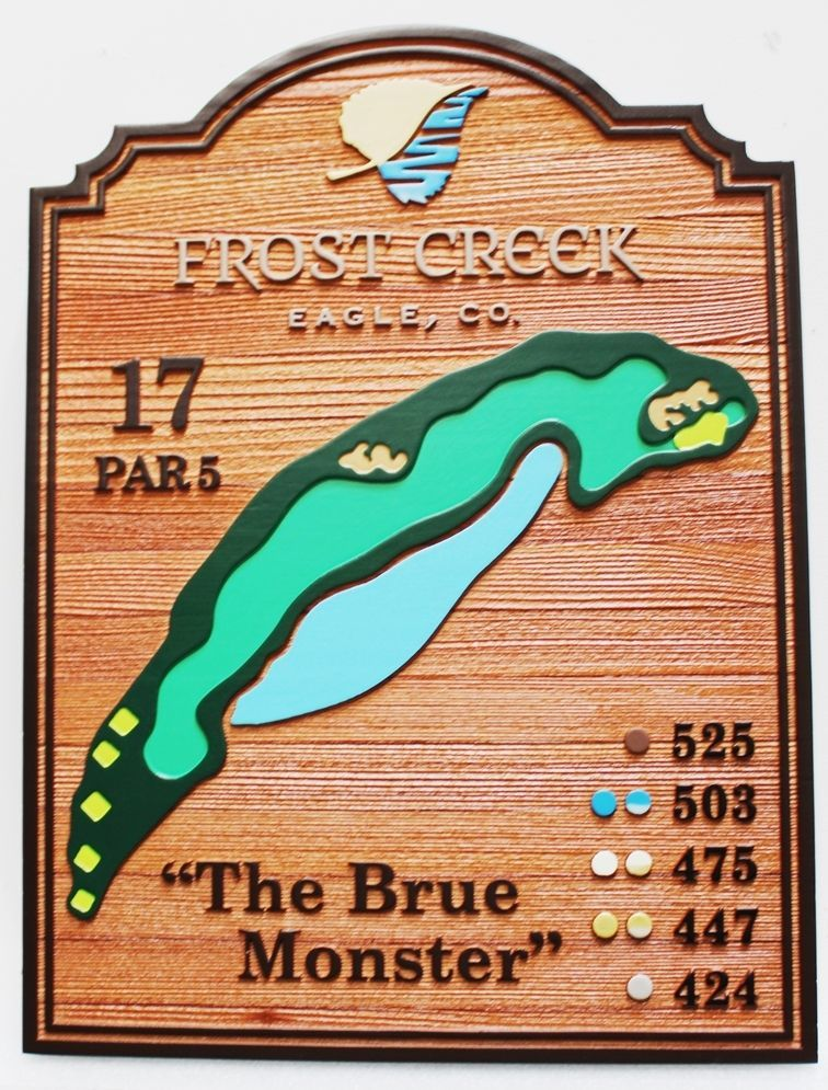 """E14420 - Carved Cedar Tee Sign showing  the Hole Layout for the 17th Hole, """"The Brue Monster"""" at the Frost Creek Country Club"""