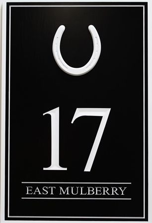 """KA20870A - Engraved HDU Unit Number Sign """"17 """", with a Horse Shoe as Artwork"""
