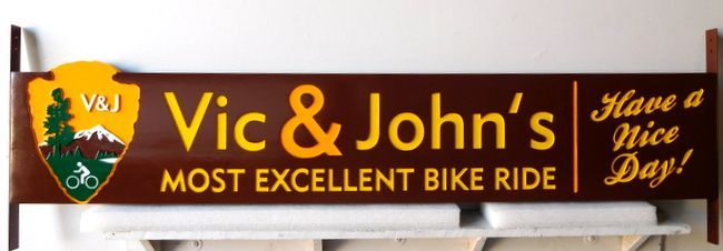 "G16129 - Carved Cedar Sign for Bicycle Rental Shop, National Park ""Arrow"" with Bicycle"