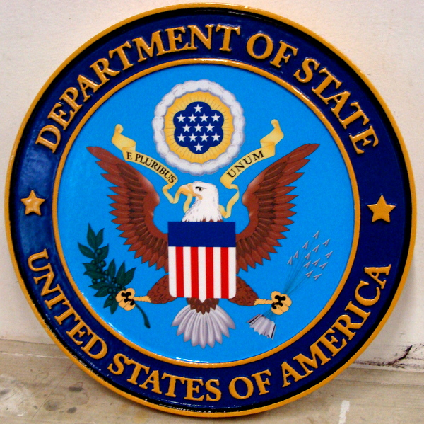 U30174 - Department of State Seal Carved 3-D Wall Plaque