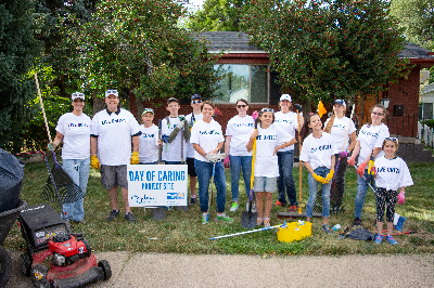 Group of volunteers cleaning a home