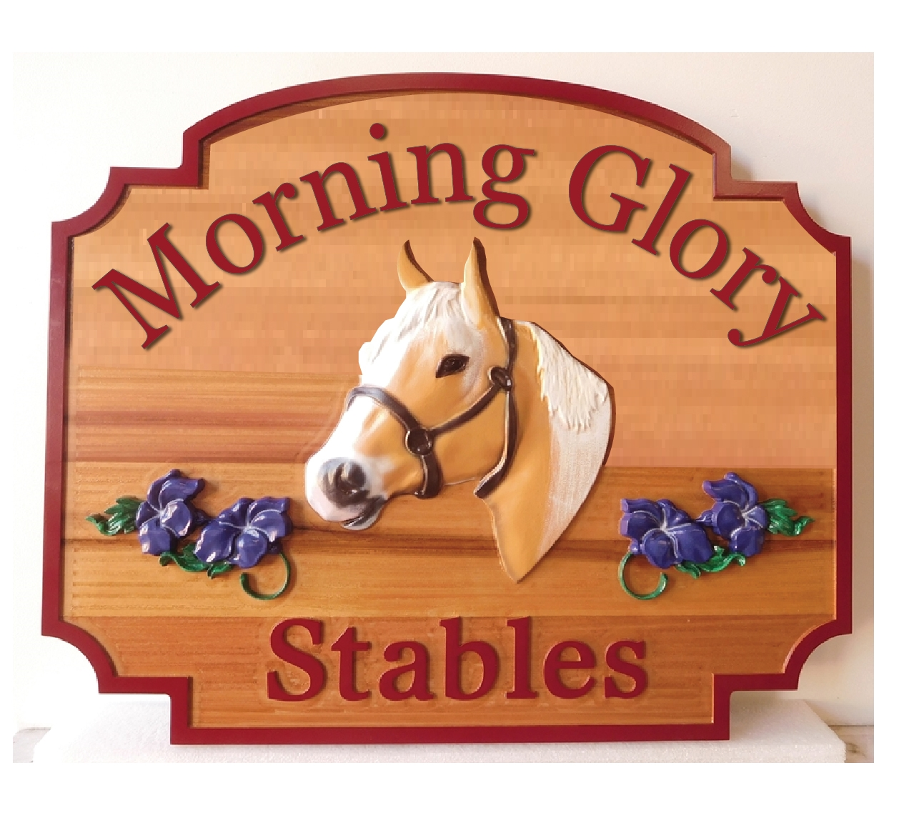 P25050 - Carved Cedar Wood Sign for Horse Stable