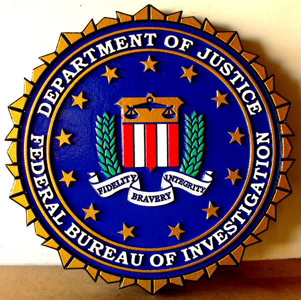 U30361 - 2.5-D Carved Wall Plaque for the Seal of the FBI