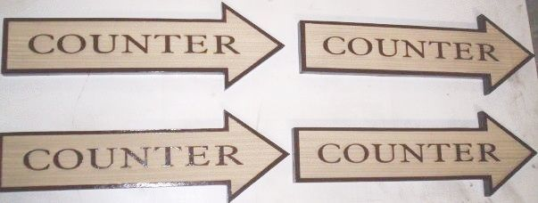 F15565- Carved HDU Directional Signs for Counter