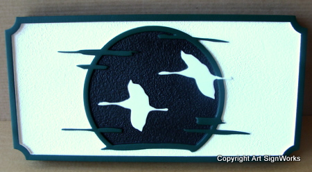 M22716 - Flying Geese in front of Full Moon Plaque