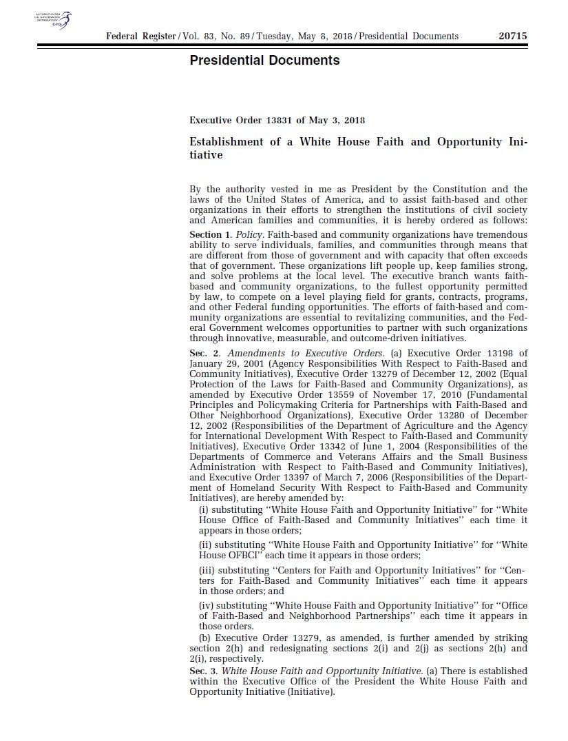 Presidential Documents Executive Order 13831 PDF Download