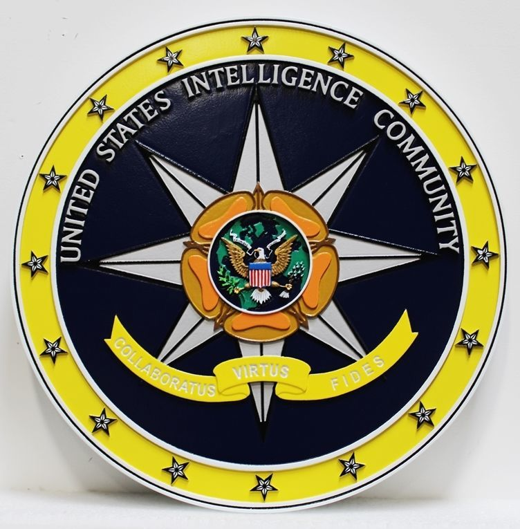 AP-3050 - Carved 3-D HDU Plaque of the Seal of the United States Intelligence Community