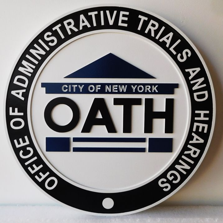A10202 - Carved  Sign for the Office of Administrative Trials and Hearings (OATH), 2.5-D,