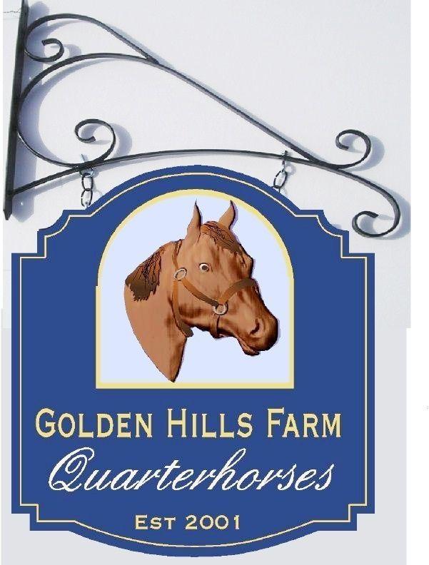 "P25081- Carved HDU Sign ""Golden Hills Quarterhorses"" with Image of Horse Head"