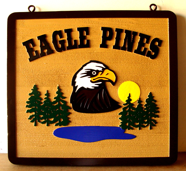 "M22738 - Carved and Sandblasted HDU Cabin Sign. ""Eagle Pines"", with  Bald Eagle, Pines and Lake"