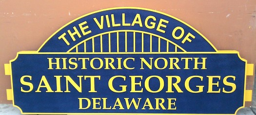 F15010 - Carved Wood  Welcome Entrance Sign for St.Georges Village